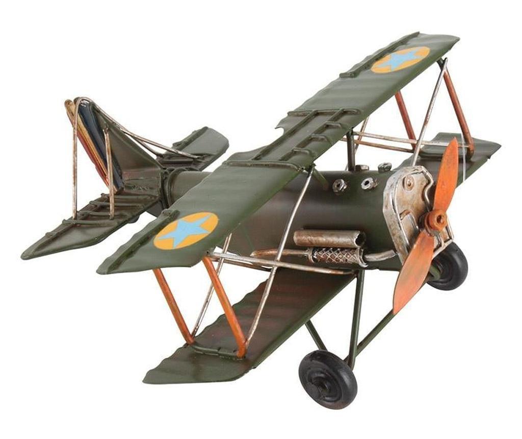 Decoratiune metalica, avion, verde, 16x16x8.5 cm