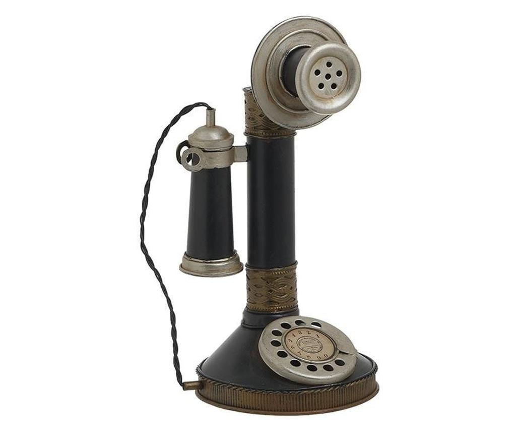 Decoratiune metalica, telefon antic, negru, 14x13x26 cm