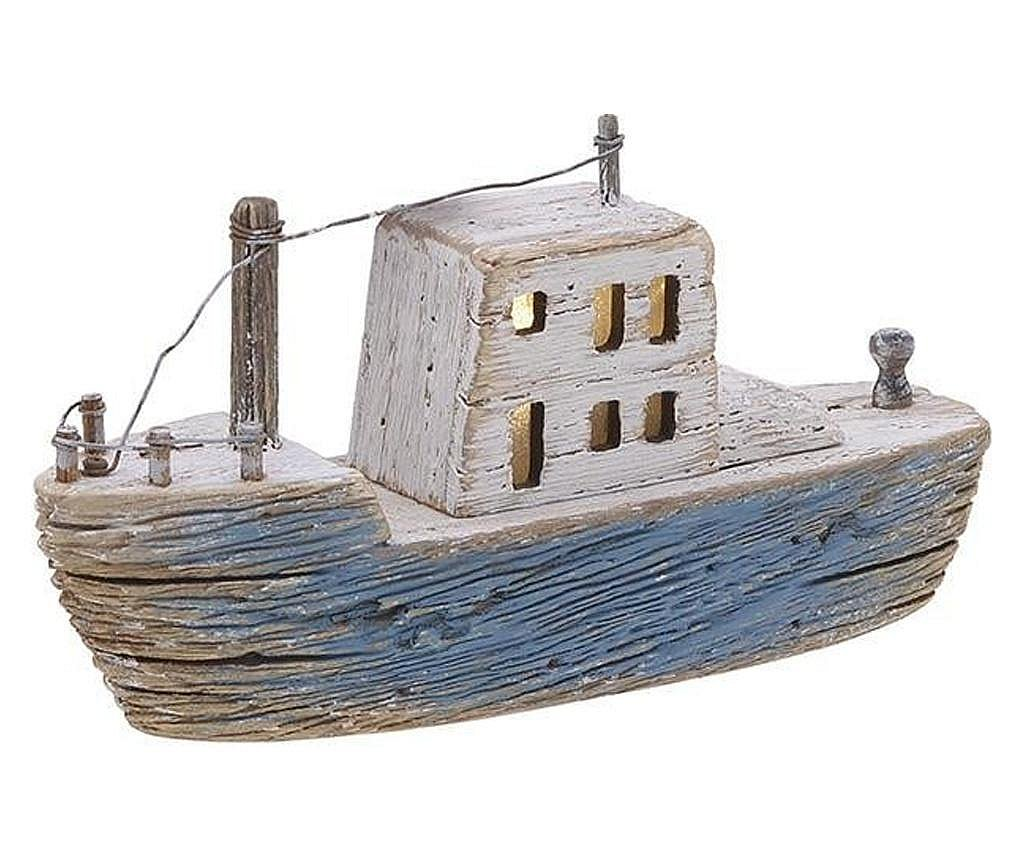 Decoratiune barca, lemn, led, 24x6x12 cm