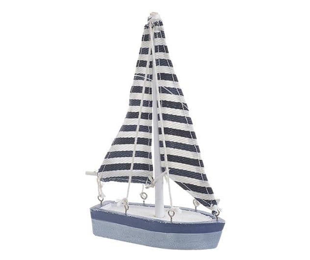 Decoratiune barca, lemn/textil, 10x3x16 cm