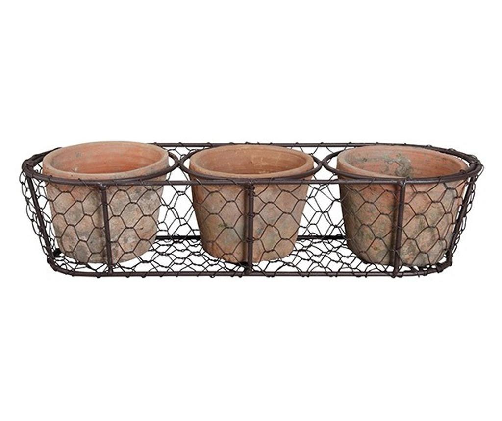 Set 3 ghivece teracota in suport metalic plasa, 14x37x8 cm