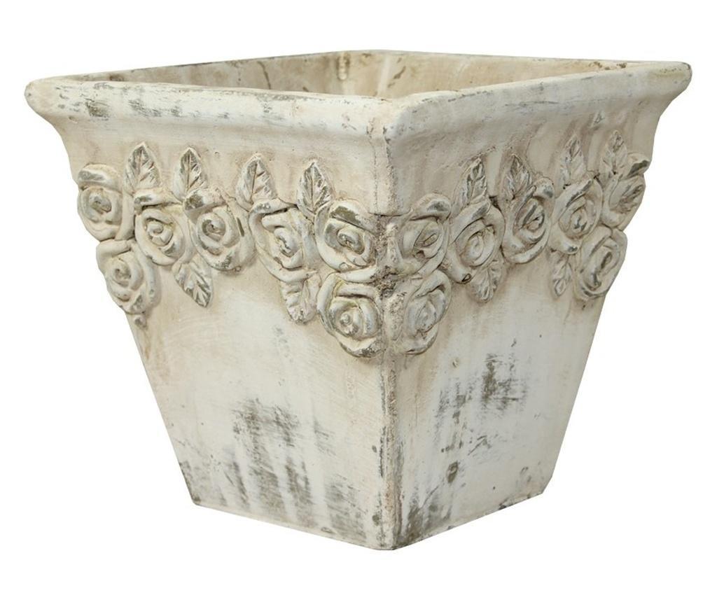 Ghiveci piatra, crem antichizat, 16x17x17 cm