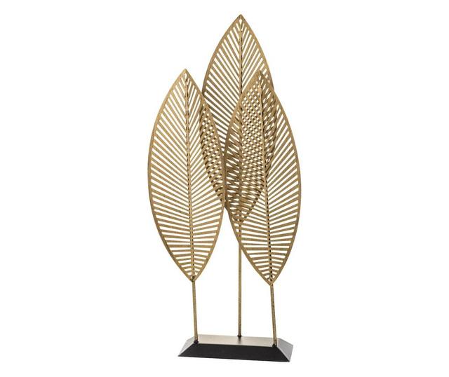 Decoratiune metalica frunze, auriu/negru, 52x23x9,5 cm