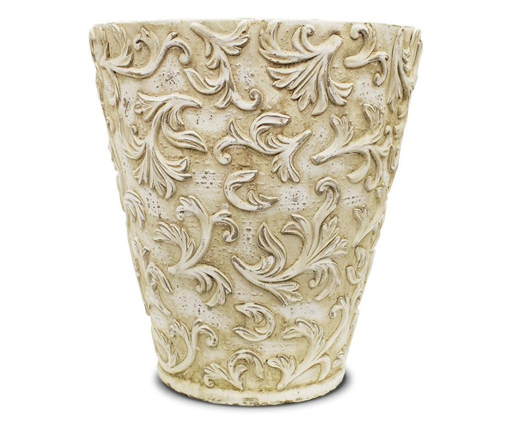 Ghiveci ceramica, crem antichizat, 28x26 cm