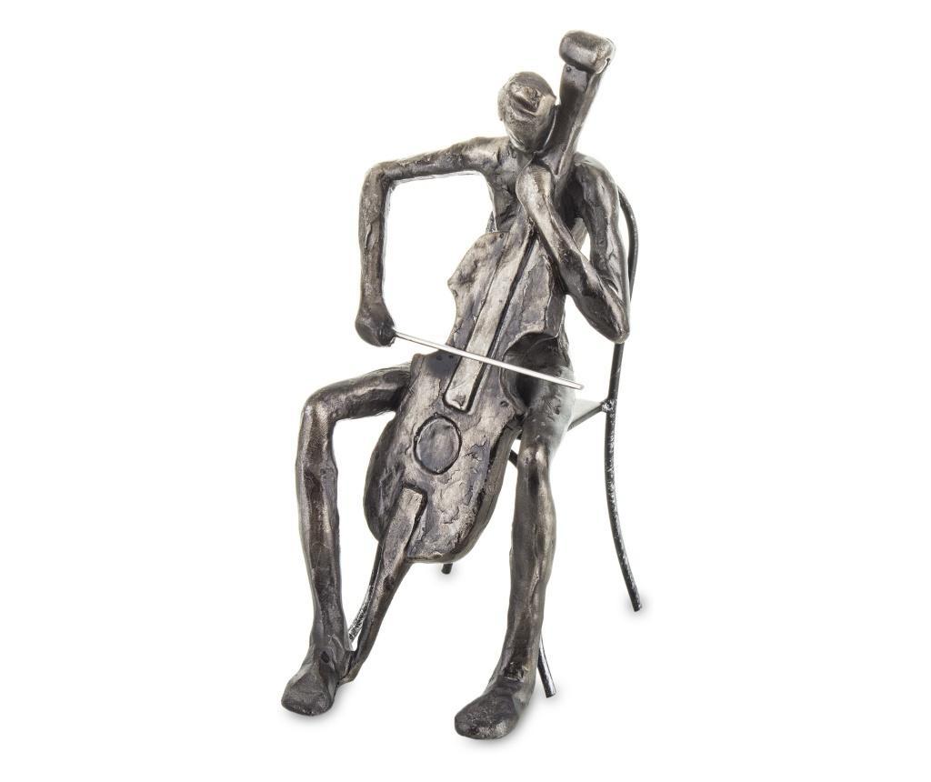 Figurina muzician, gri fumuriu, 20x9x13,5 cm