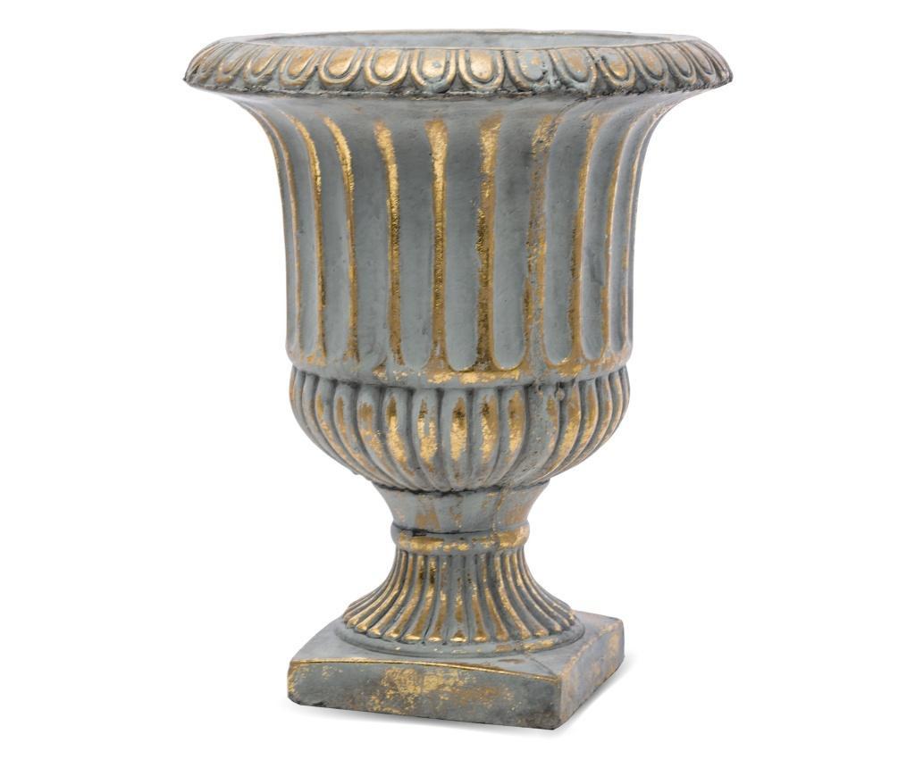 Pocal ceramica, gri/auriu, 31x26 cm