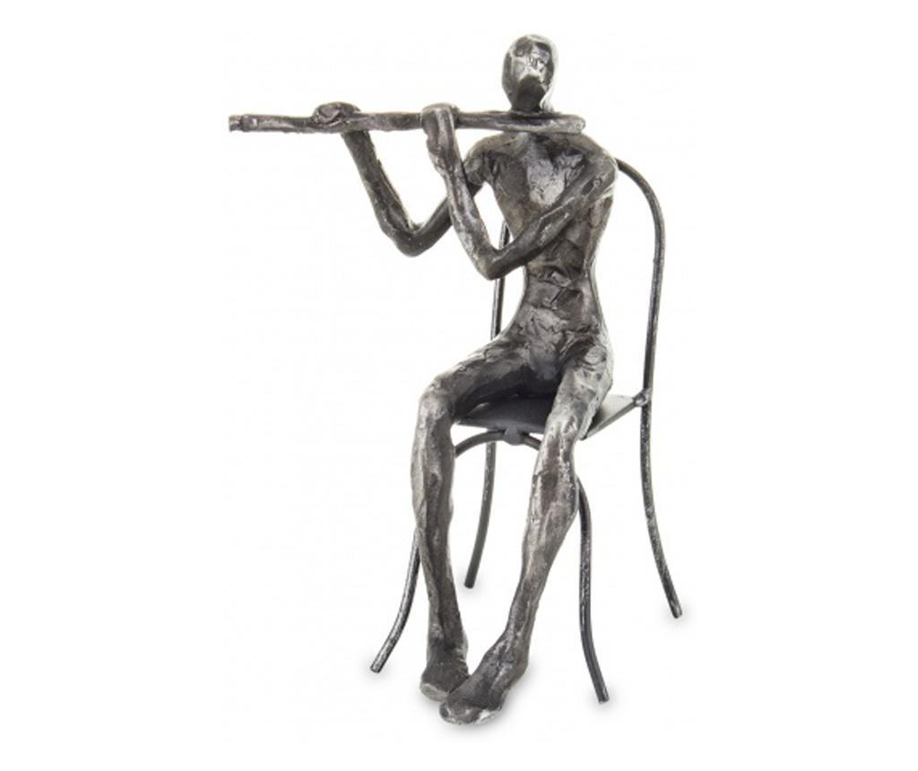 Figurina muzician, gri fumuriu, 20x14x13. cm