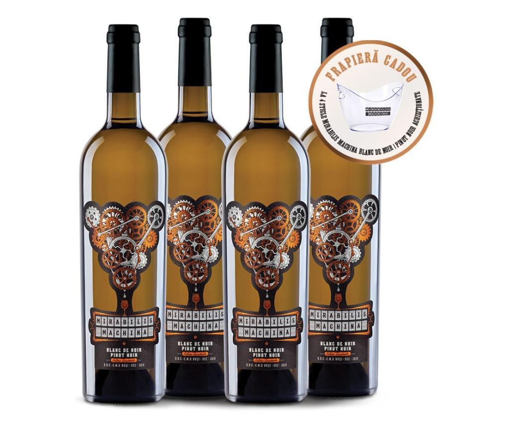Pachet 4 sticle de vin alb Mirabilis Machina Blanc de Noir si frapiera cadou 750 ml