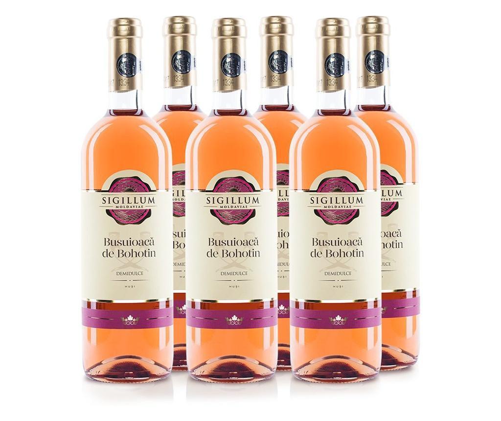 Set 6 sticle de vin rose, demidulce, Sigillum Moldaviae, Busuioaca de Bohotin