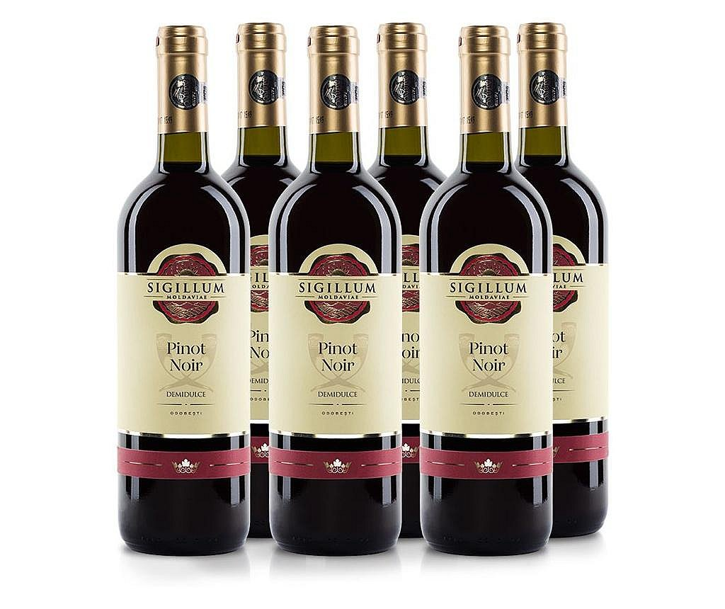 Set 6 sticle de vin rose, demidulce, Sigillum Moldaviae, Pinot Noir