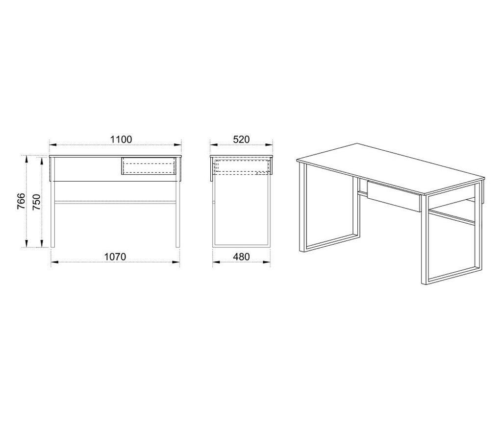Birou 1 sertar loa,110x52x76,6 cm,culoare petrol/alb,pal/metal