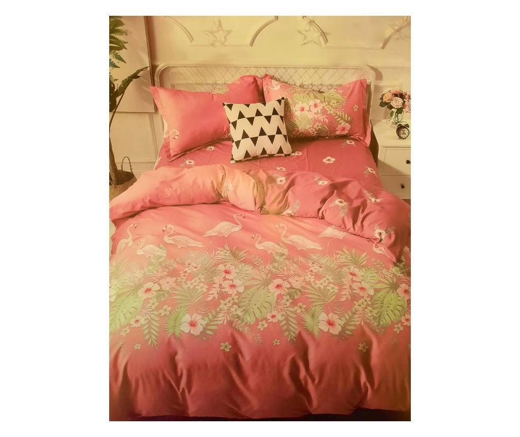 Lenjerie de pat cu flamingo (4 piese)