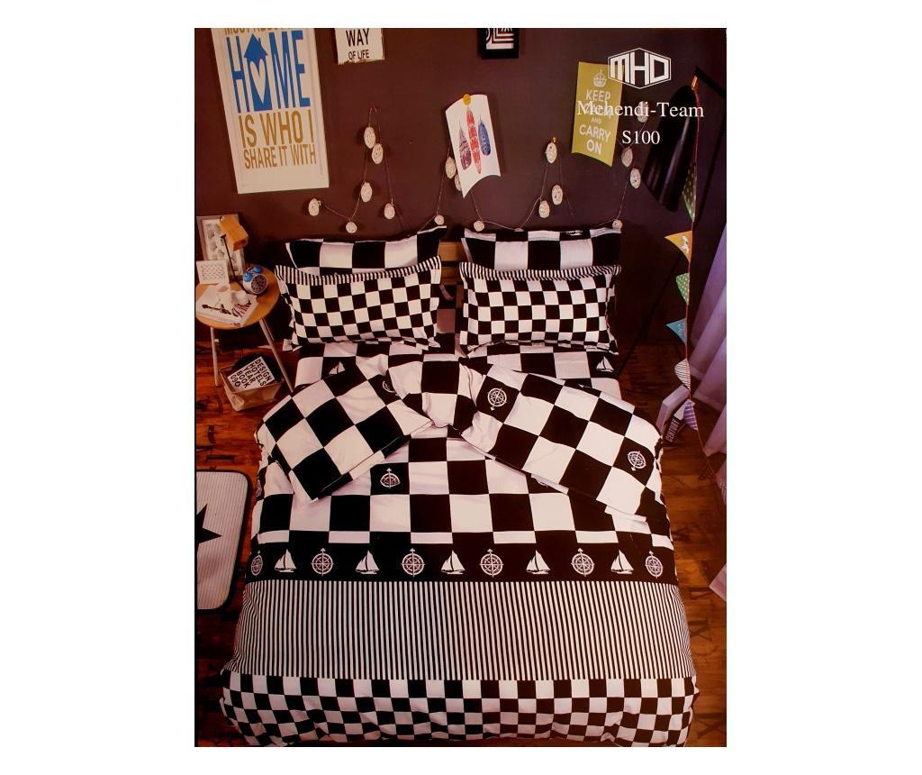 Lenjerie de pat alba cu carouri negre si model marin, 225x250 cm