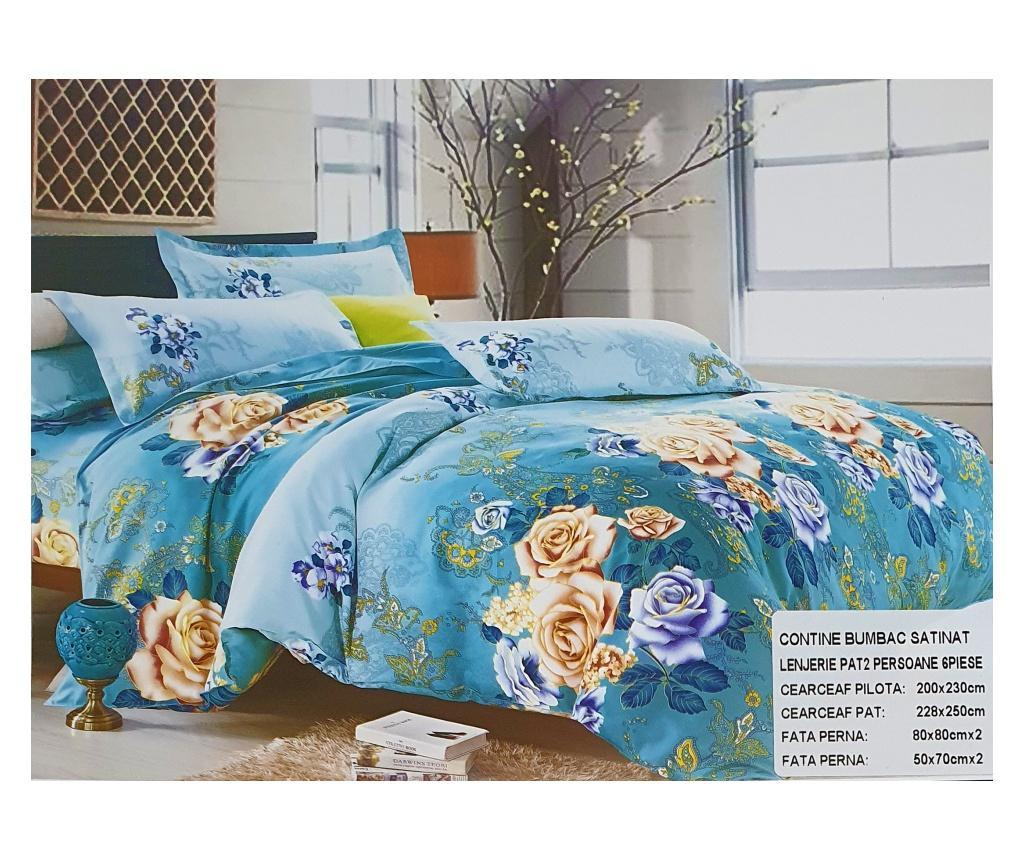 Lenjerie de pat albastra cu trandafiri, 230x250 cm