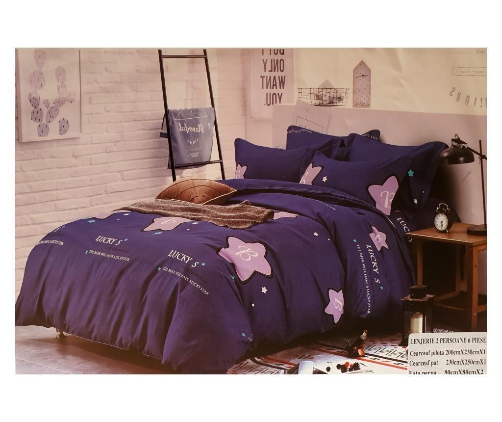 Lenjerie de pat bluemarin cu stelute roz, 230x250 cm