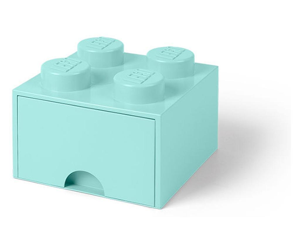 Cutie depozitare LEGO 2x2 cu sertar, aqua