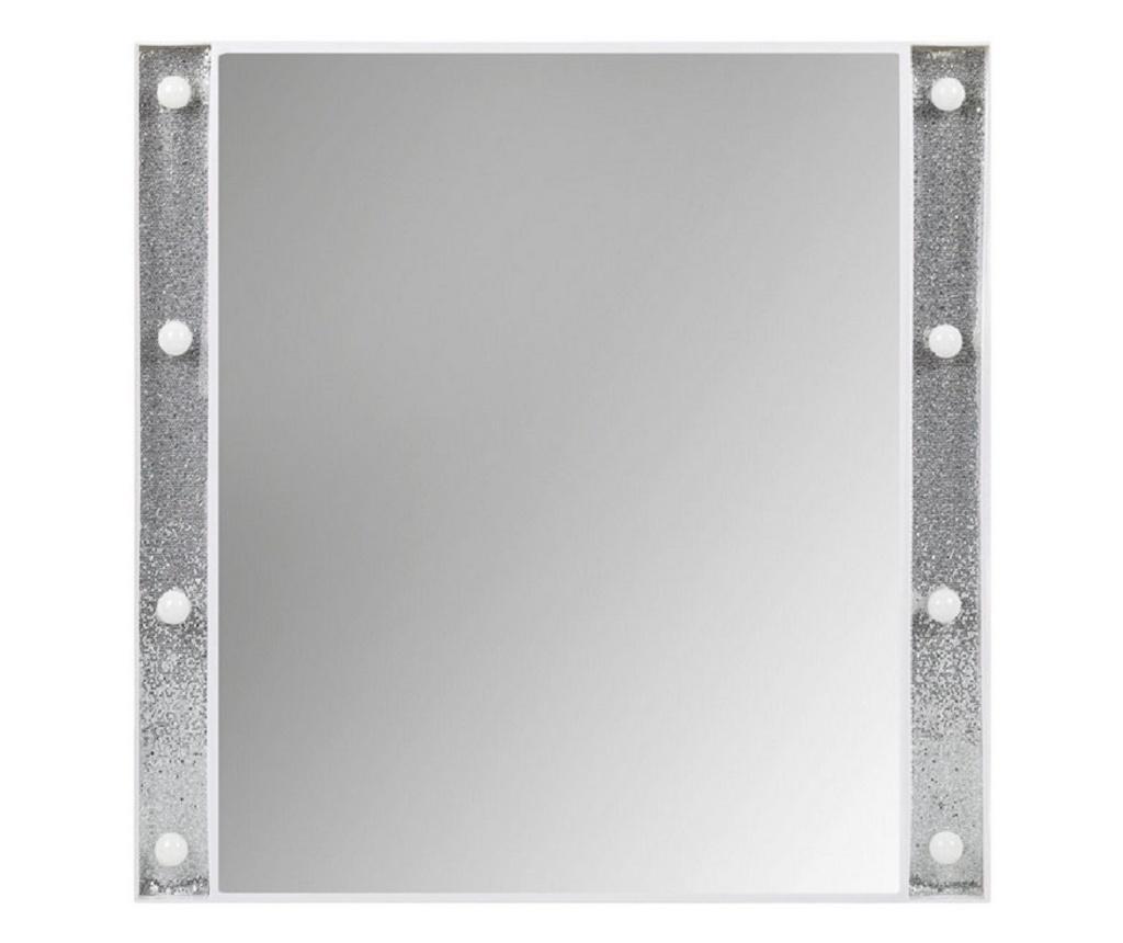 Oglinda de perete cu 8 leduri, cu sclipici argintiu-alb
