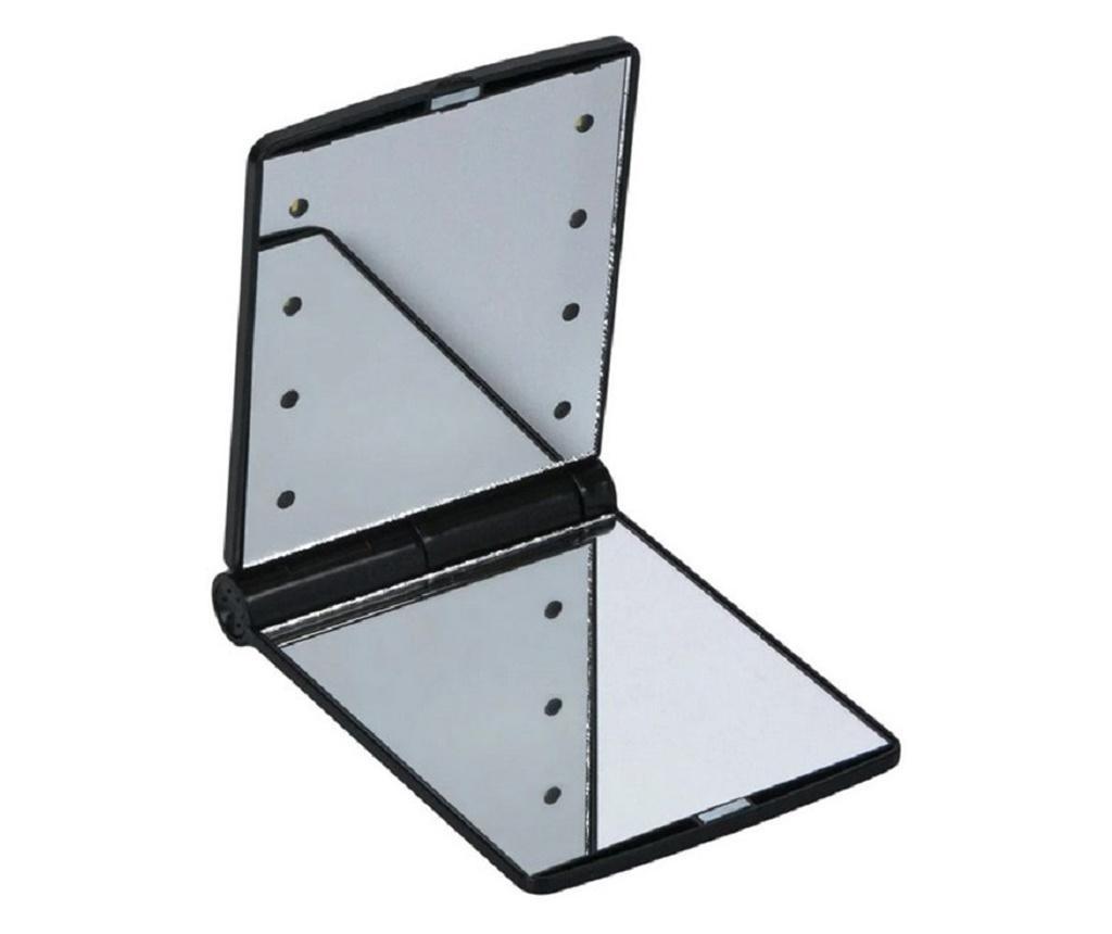 Mini oglinda portabila pentru make-up, cu 8 leduri incluse, negru
