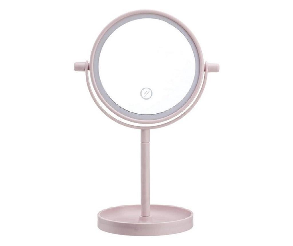 Oglinda de masa, pentru make-up cu lumina led integrata, roz pudrat