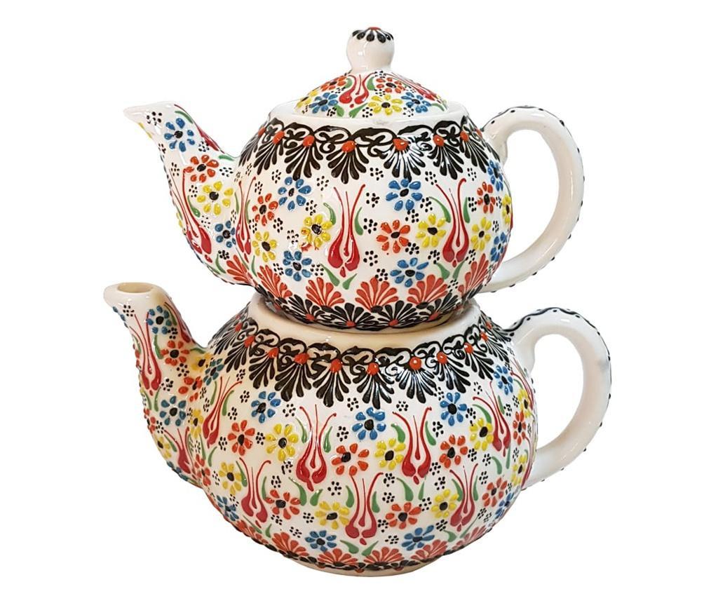 Set 2 ceainice turcesti ceramic EHA, pictat manual in relief, culoare alb cu flori, 1300 l si 0,600 l, hand-made