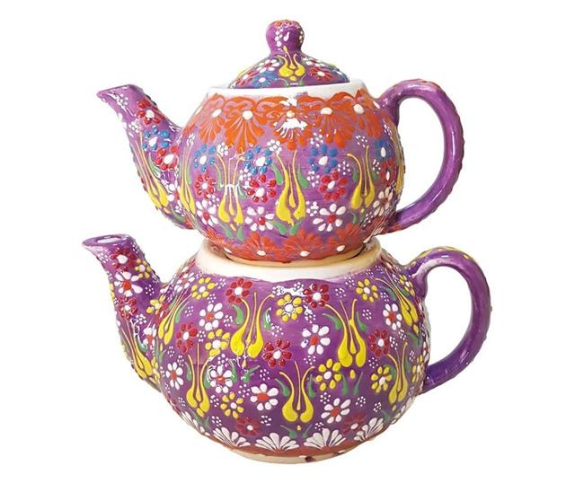 Set 2 ceainice turcesti ceramic EHA, pictat manual in relief, culoare mov cu flori, 1300 l si 0,600 l, hand-made
