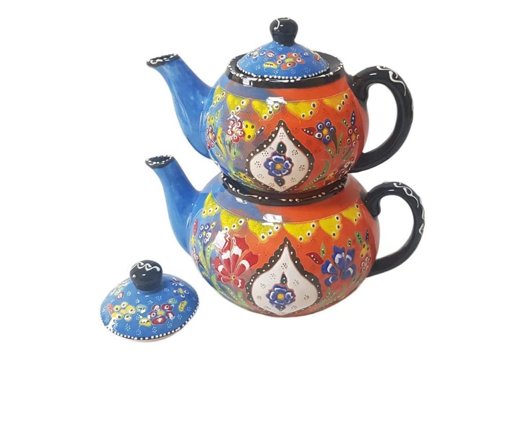 Set 2 ceainice turcesti ceramic EHA, pictat manual in relief, oranj cu albastru cu flori, 1300 l si 0,600 l, hand-made