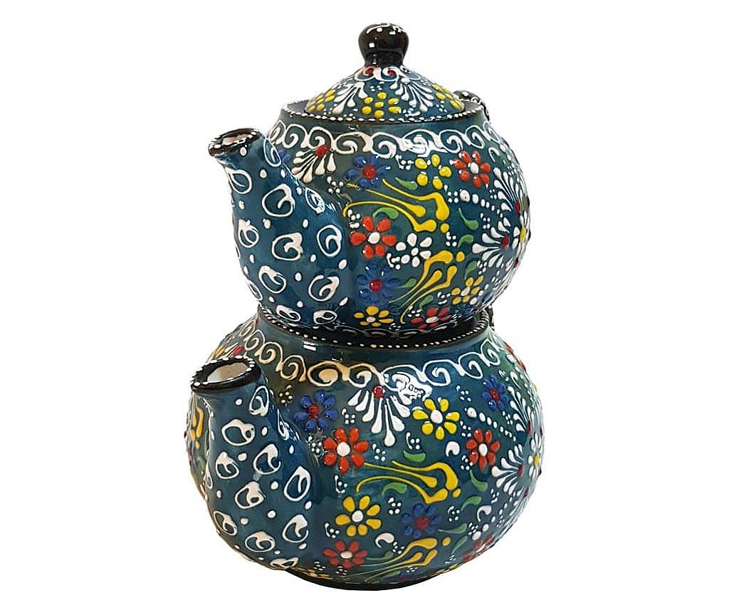 Set 2 ceainice turcesti ceramic EHA, pictat manual in relief, culoare verde cu flori, 1300 l si 0,600 l, hand-made