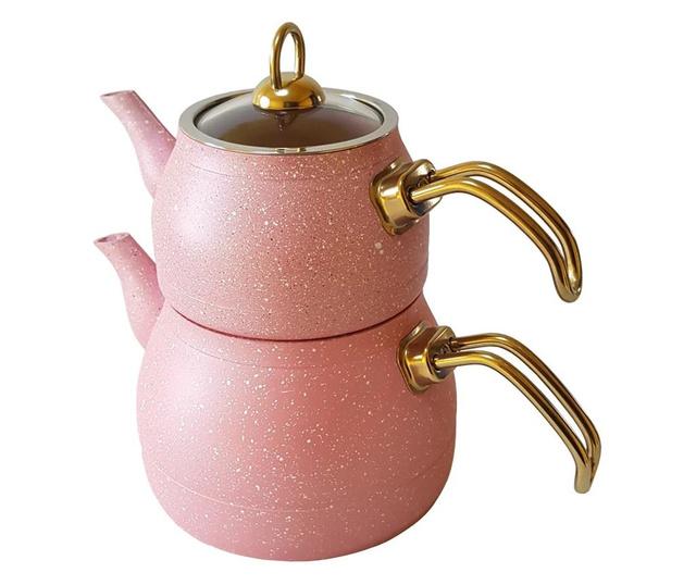 Set 2 ceainic din aluminiu cu invelis de granit BIO, antiaderent si ultra rezistent, capacitate 3.2 lt, Starducks, roz
