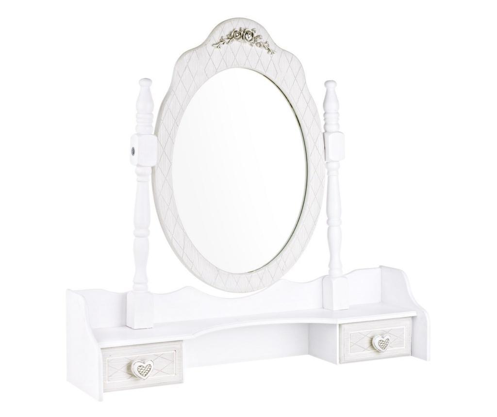 Oglinda de masa din mdf alb patinat Charlene 70.5 cm x 18 cm x 69 h
