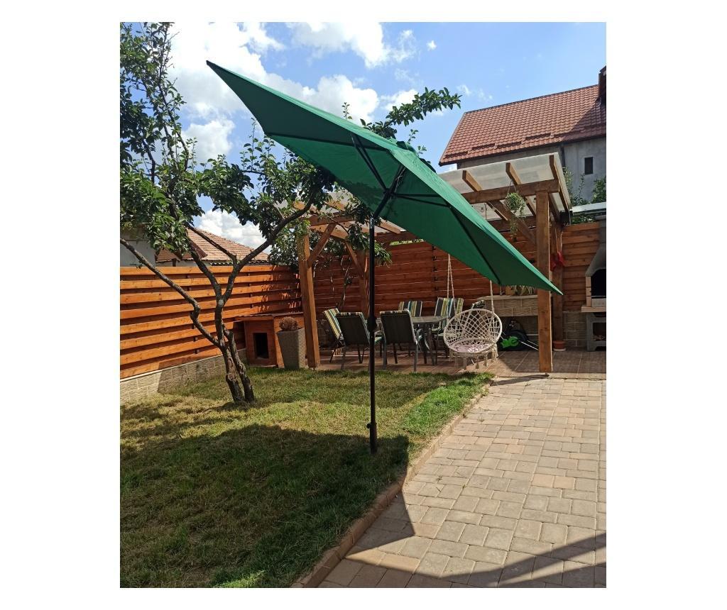 Umbrela terasa gradina GU19, cu manivela si inclinare, rotunda 300cm, Verde