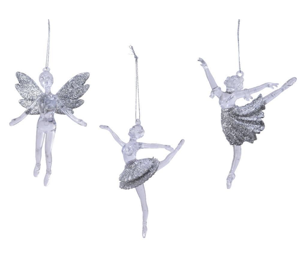 Decoratiune cu agatatoare, balerina, argintiu
