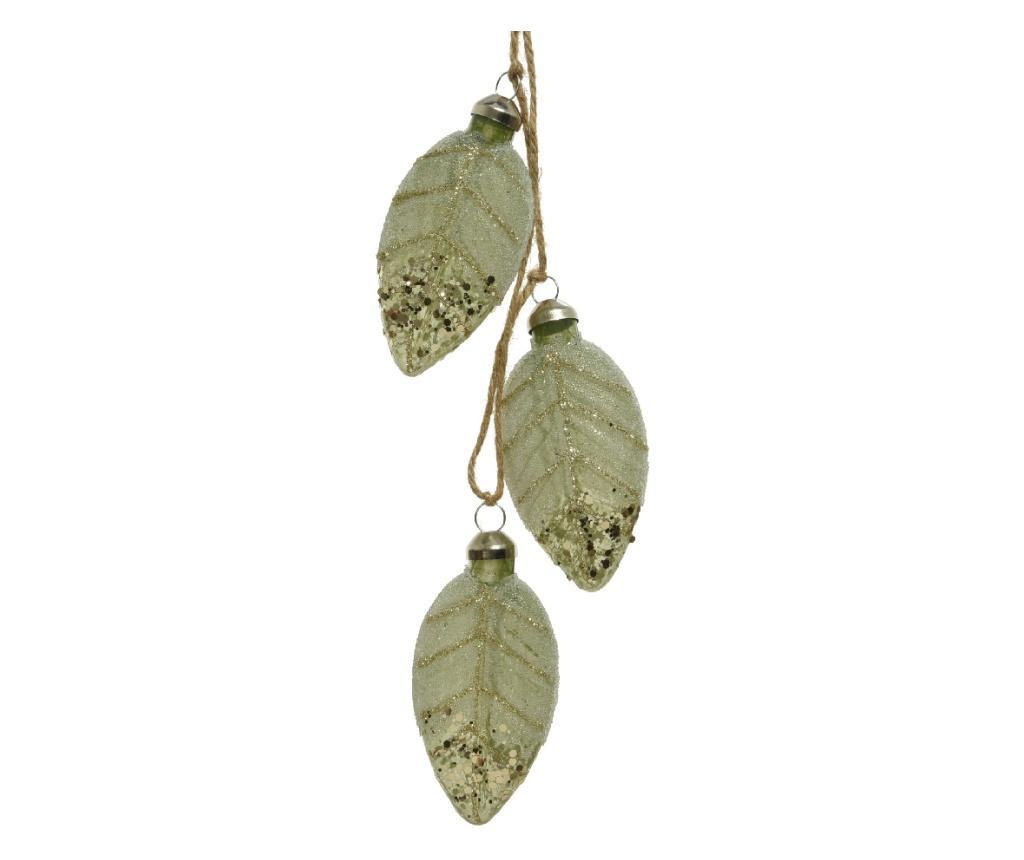 Decoratiune frunze sticla, verde, 2.4x4x8 cm