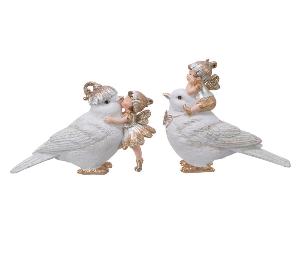 Figurina pasare cu copil, alb/auriu, 10.8 cm