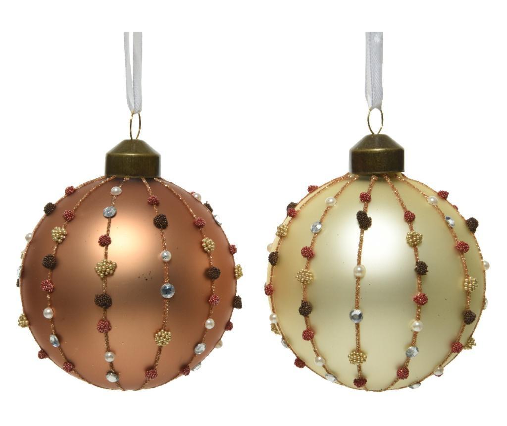 Glob de sticla auriu/maro, cu margele, 8 cm