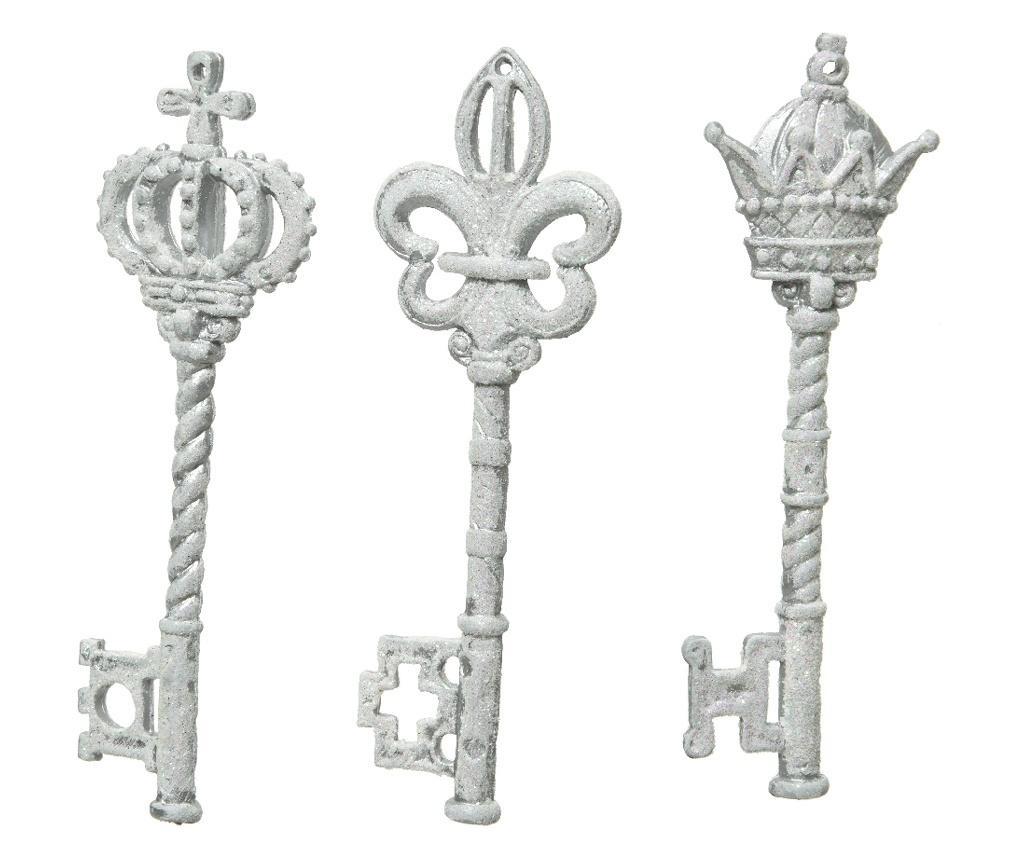 Decoratiune cheie, plastic, alb antichizat, 14.5 cm