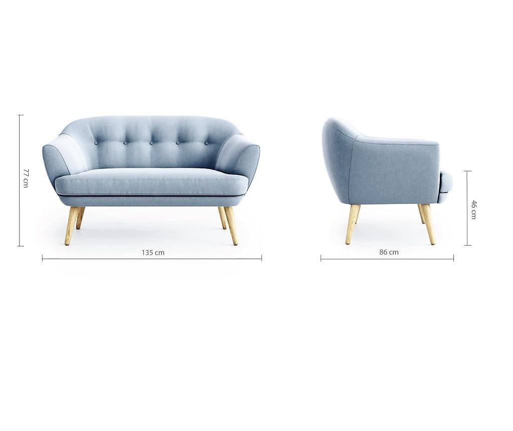Canapea 2 locuri Elsa Riviera Steel Blue