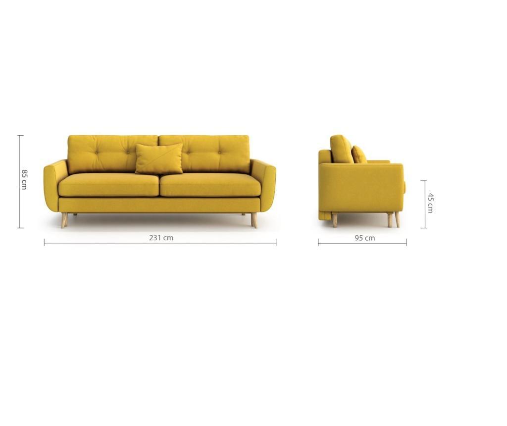 Canapea extensibila 3 locuri Harris Yellow