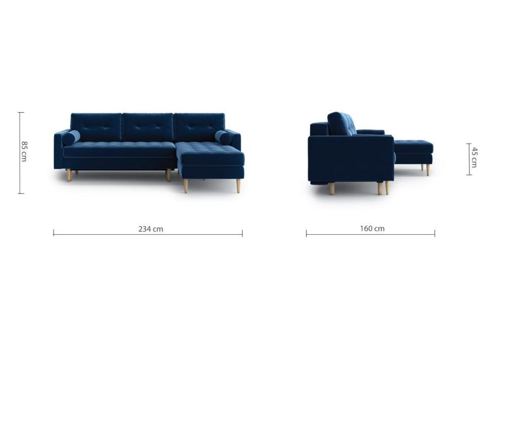 Разтегателен ъглов диван Esme II Navy Blue